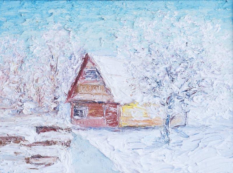 Ejemplo del paisaje del invierno con la casa Pintura, aceite y lona foto de archivo