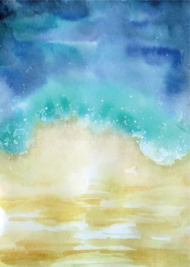 Ejemplo del paisaje marino del extracto de la opinión superior de la playa de la acuarela stock de ilustración