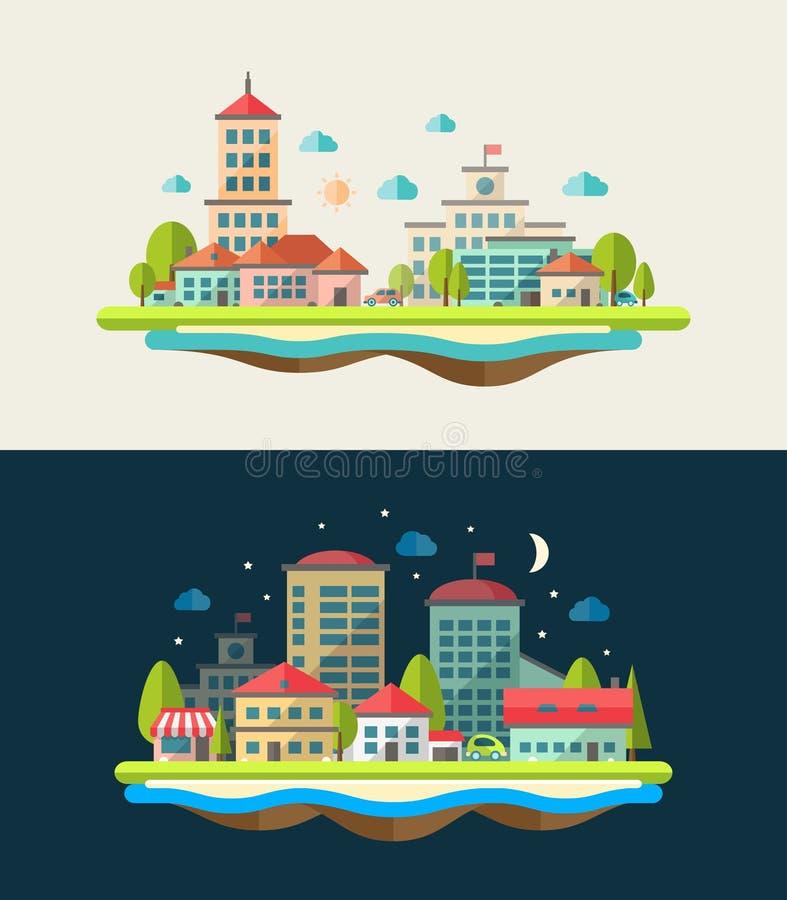 Ejemplo del paisaje urbano del diseño plano stock de ilustración
