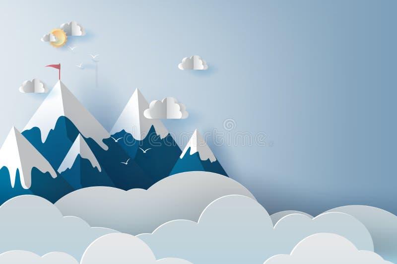 Ejemplo del paisaje y montañas y pájaros de la nube en el cielo azul Corte del papel del diseño y estilo creativos del arte del t ilustración del vector