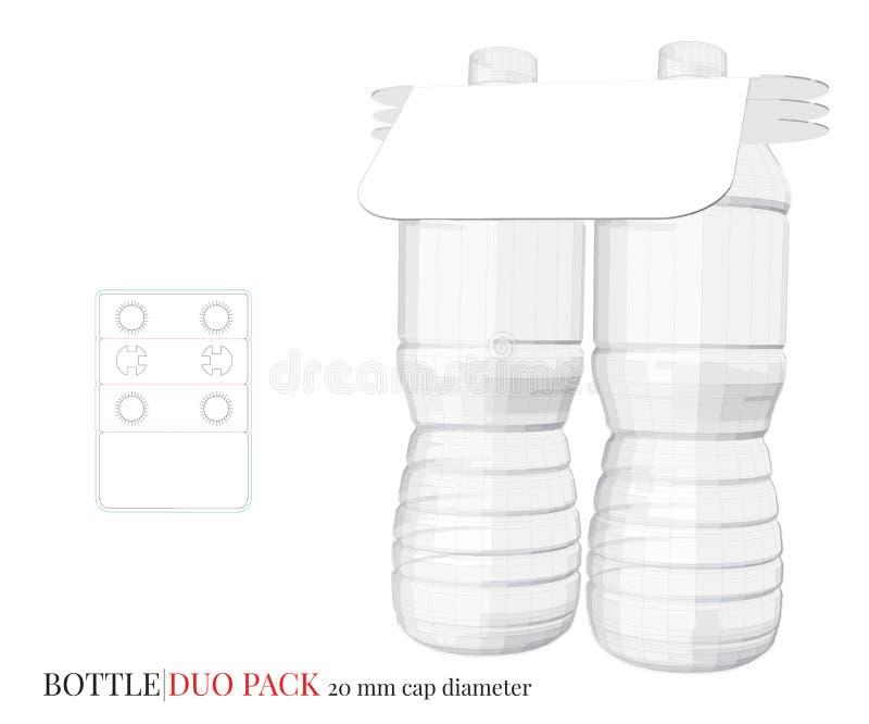 Ejemplo del paquete del dúo de la botella, vector con capas cortado con tintas/del laser stock de ilustración