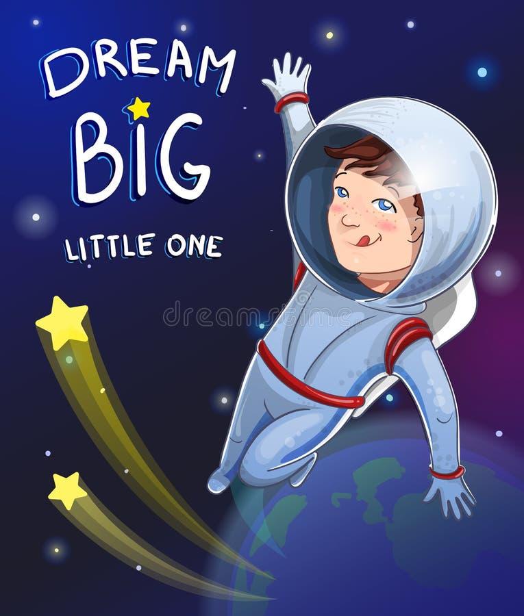 Ejemplo del pequeño cosmonauta del muchacho del soñador en espacio con el sueño pequeño el grande de la descripción Diseño de la  ilustración del vector