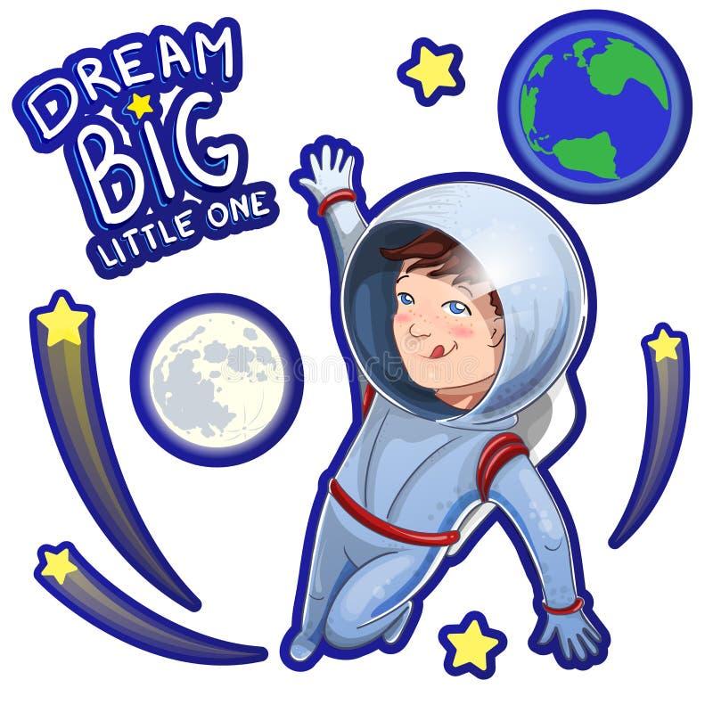 Ejemplo del pequeño cosmonauta del muchacho del soñador en espacio con el sueño pequeño el grande de la descripción Fije de etiqu stock de ilustración