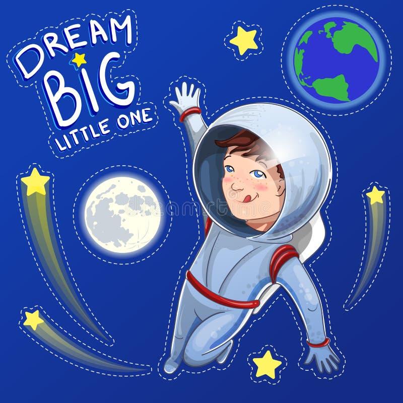 Ejemplo del pequeño cosmonauta del muchacho del soñador en espacio con el sueño pequeño el grande de la descripción Fije de etiqu libre illustration