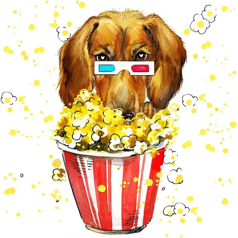 Ejemplo del perro con el fondo texturizado acuarela del chapoteo libre illustration