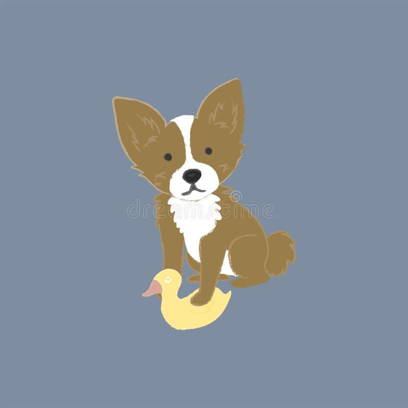 Ejemplo del perro con el juguete del pato ilustración del vector