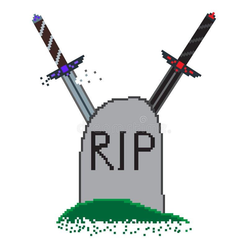 Ejemplo del pixel para el juego sobre la pantalla con las espadas stock de ilustración