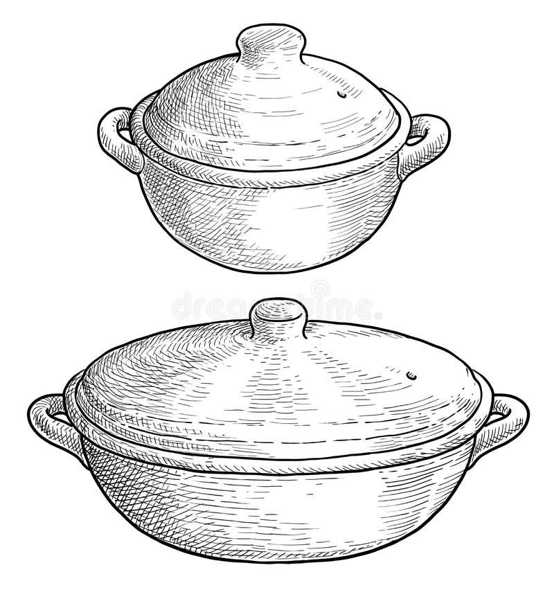 Ejemplo del pote de la arcilla que cuece, dibujo, grabado, tinta, línea arte, vector libre illustration
