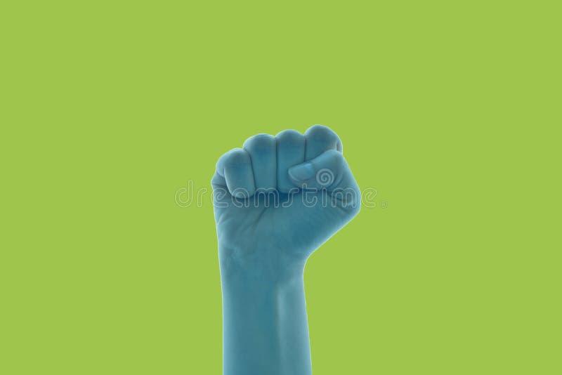 Ejemplo del primer de un puño exprimido aislado que señala hacia el antedicho foto de archivo libre de regalías