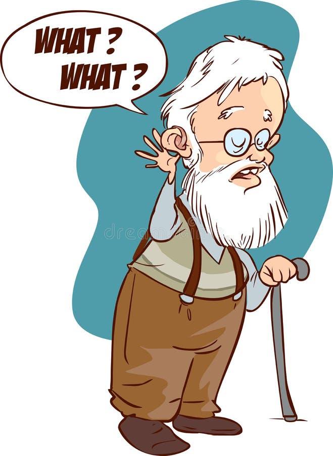 Ejemplo del problema sordo, pérdida de oído, envejecimiento Arte del vector, la Florida stock de ilustración