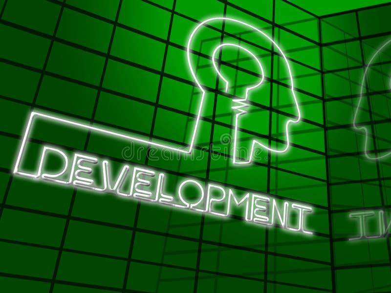 Ejemplo del progreso 3d del crecimiento del significado de la bombilla del desarrollo stock de ilustración