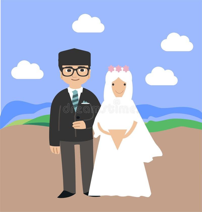 Ejemplo del puente de la boda de los pares e icono musulmanes coloridos del vector libre illustration
