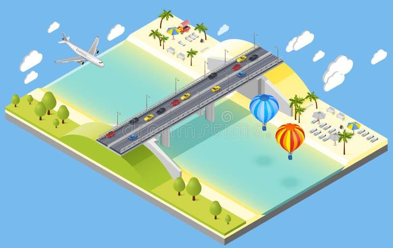 Ejemplo del puente y del complejo playero libre illustration