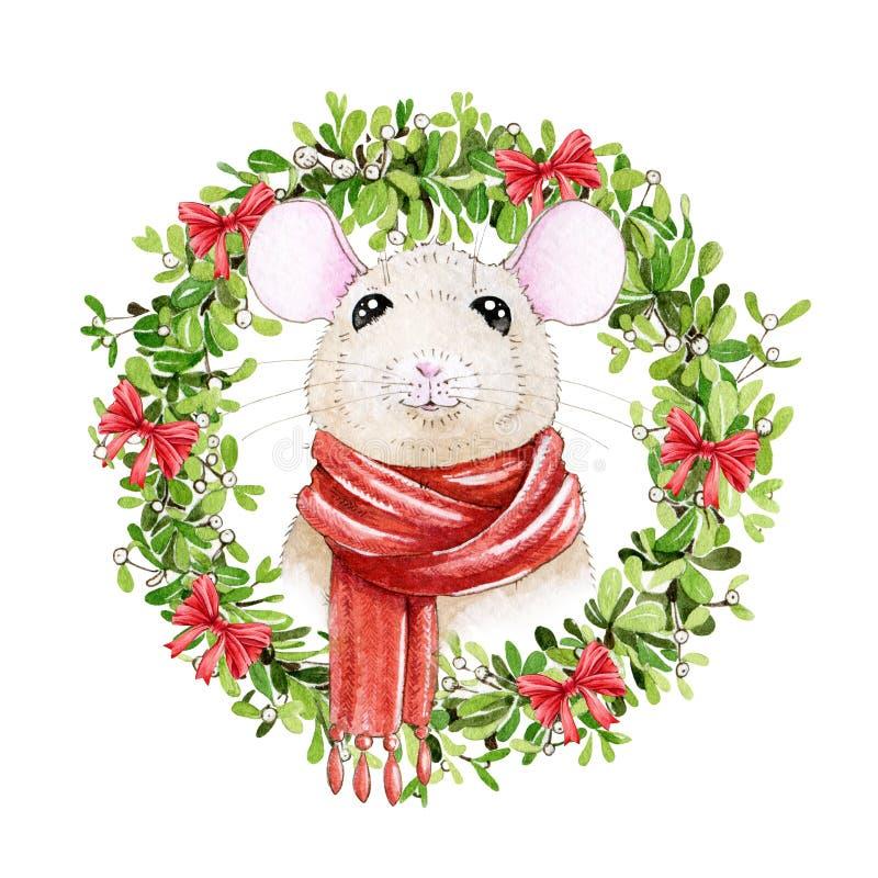 Ejemplo del ratón de la acuarela en una bufanda con la guirnalda del muérdago de la Navidad Pequeña rata linda un simbol del Año  stock de ilustración