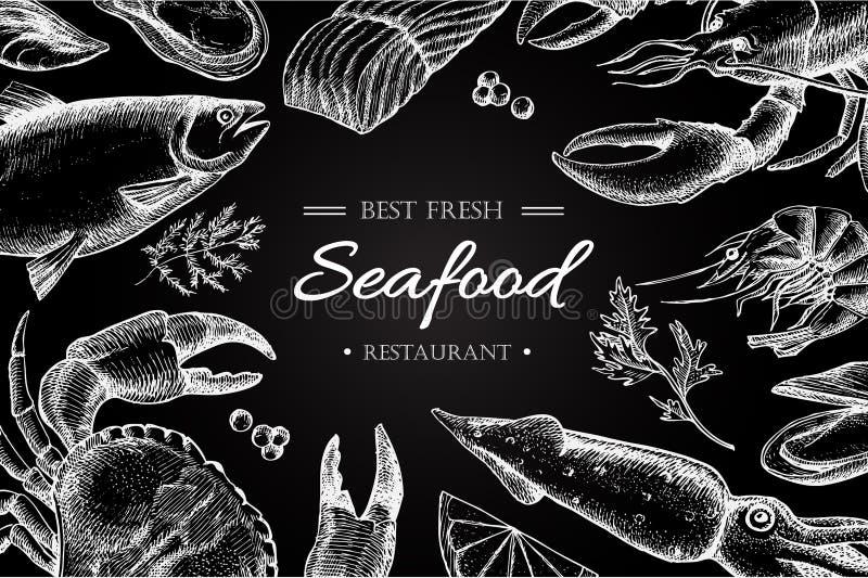 Ejemplo del restaurante de los mariscos del vintage del vector ilustración del vector