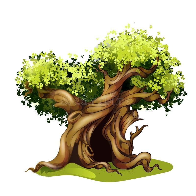Ejemplo del roble del estilo de la historieta Árbol de la magia del cuento de hadas stock de ilustración