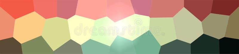 Ejemplo del rojo, del yelllow y del fondo gigante verde de la bandera del hexágono ilustración del vector
