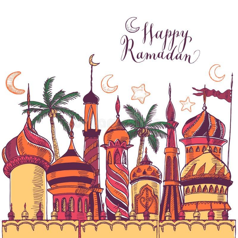 Ejemplo del saludo del Ramadán con la silueta de la mezquita Fondo inconsútil multicolor Ramadan Kareem Diseño creativo ilustración del vector
