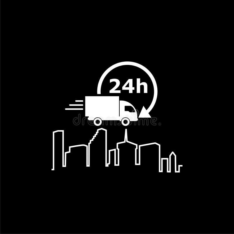 Ejemplo del servicio de entrega, logotipo del camión de reparto o icono en fondo oscuro libre illustration