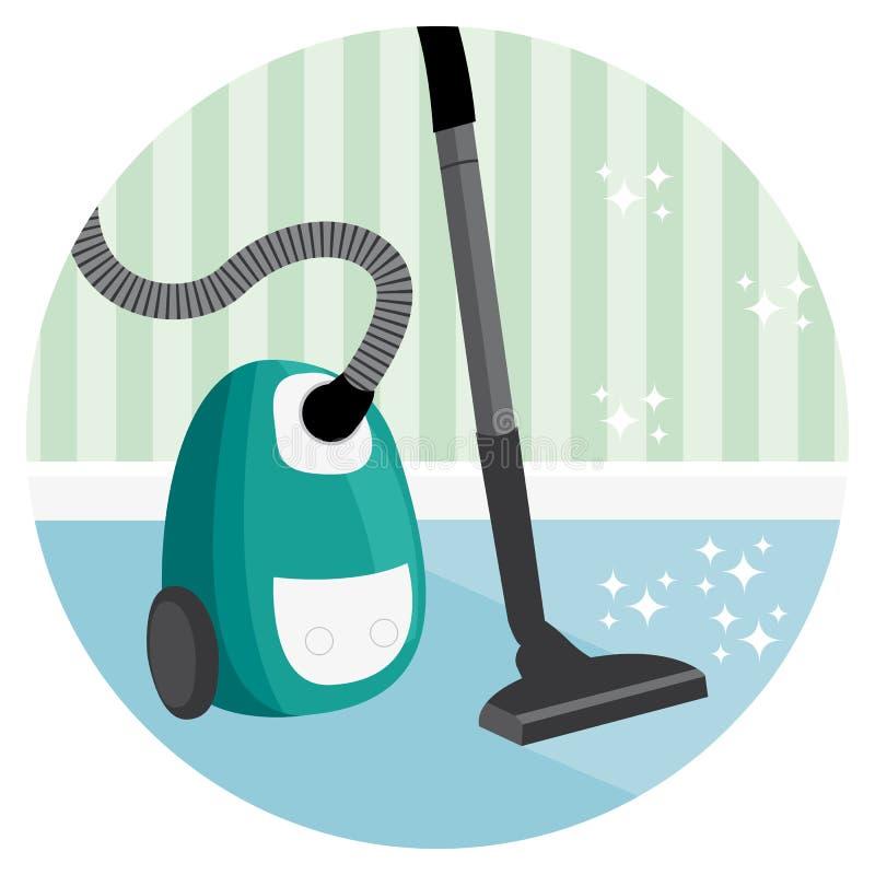 Ejemplo del servicio de la limpieza de la casa de la alfombra que limpia con la aspiradora stock de ilustración