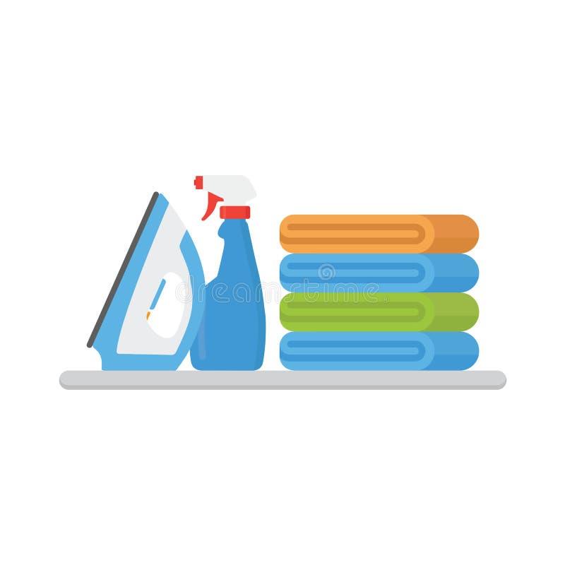 Ejemplo del servicio de lavadero Pila de ropa colorida, de hierro eléctrico y de suavizador del lavadero stock de ilustración
