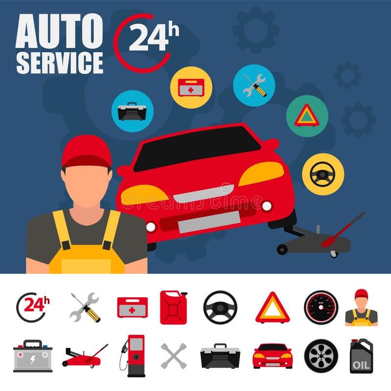 Ejemplo del servicio del coche con el sistema plano del icono Iconos del plano de servicio del mecánico de automóviles de la repa stock de ilustración