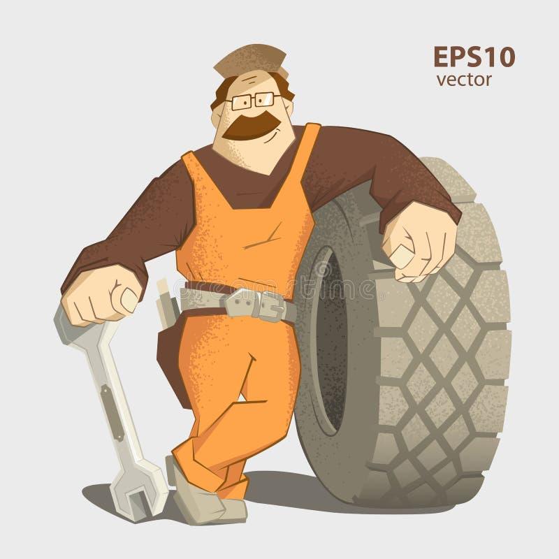 Ejemplo del servicio del neumático del neumático de coche stock de ilustración