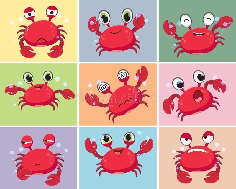 Ejemplo del sistema de la colección del cangrejo de la historieta ilustración del vector