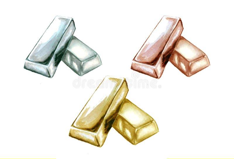 ejemplo del sistema de lingotes de oro amarillo, blanco y color de rosa libre illustration