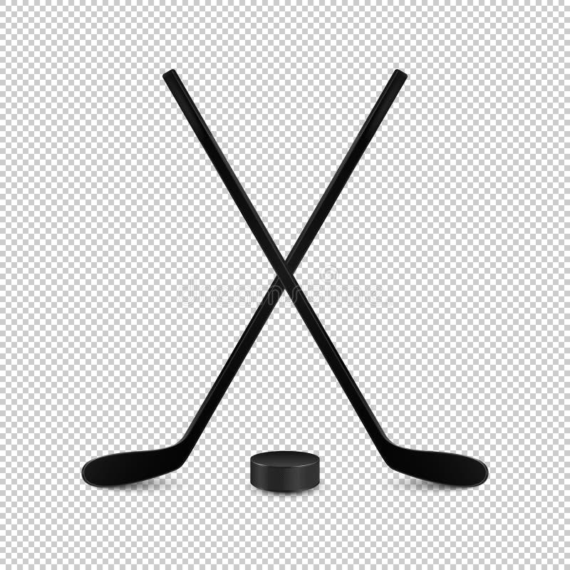 Ejemplo del sistema de los deportes - dos palillos y duendes maliciosos cruzados realistas de hockey Plantillas del diseño en vec ilustración del vector
