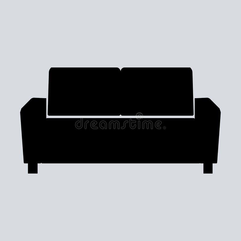 Ejemplo del sofá aislado en el fondo blanco Icono suave del sofá Icono del sofá del viejo estilo Icono del sofá del diván ilustración del vector