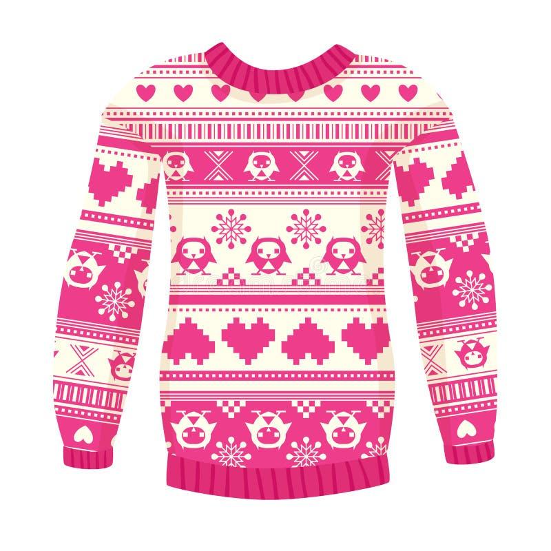 Ejemplo del suéter caliente con los búhos y los corazones. Versión rosada. stock de ilustración
