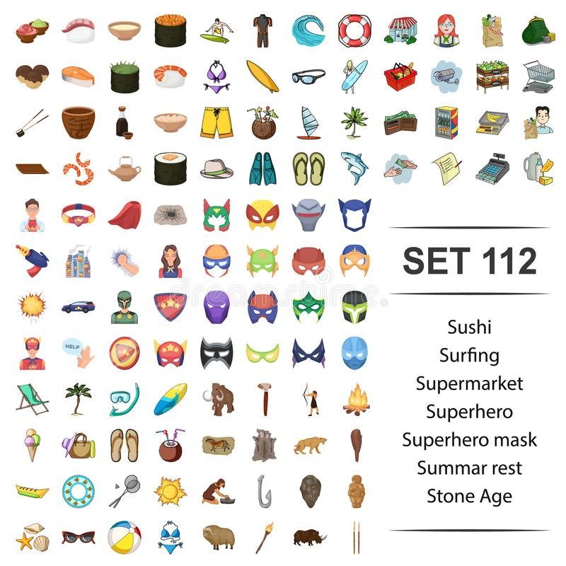 Ejemplo del sushi, practicando surf, supermercado, super héroe, sistema summar del vector del icono de la Edad de Piedra del rest ilustración del vector