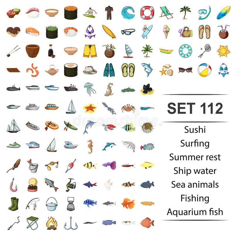 Ejemplo del sushi, practicando surf, verano, resto, animales del vector de mar del agua de la nave que pescan el sistema del icon stock de ilustración