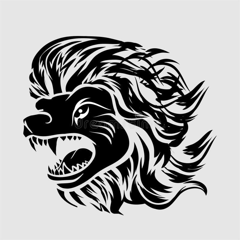 Ejemplo del tatuaje del león tribal de vikingo y logotipo principales del vector ilustración del vector