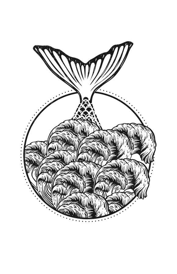 Ejemplo del tatuaje del vector de la cola de la sirena en ondas del mar en el estilo de Boho Línea dibujo de océano del arte ilustración del vector