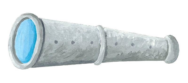 Ejemplo del telescopio viejo del mar Pintura drawnacrylic de la mano en el fondo blanco stock de ilustración