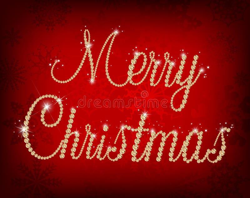 Ejemplo del texto de la Feliz Navidad con el diamante ilustración del vector