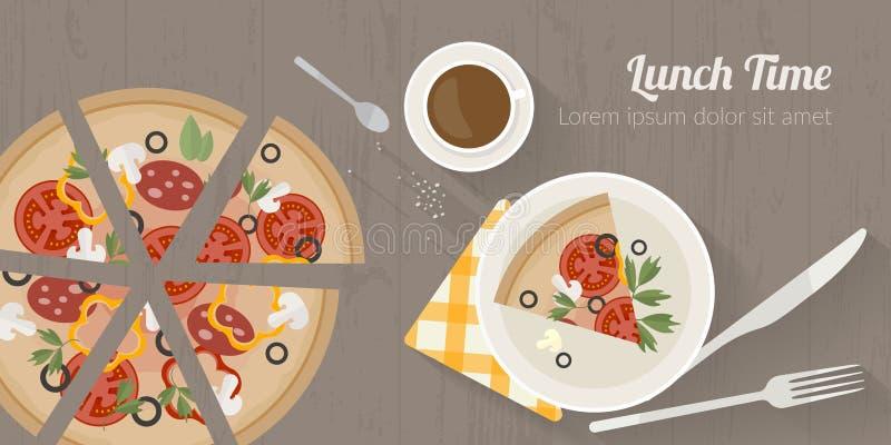 Ejemplo del tiempo de cocción del vector con los iconos planos Comida fresca y materiales en la tabla de cocina en estilo plano ilustración del vector