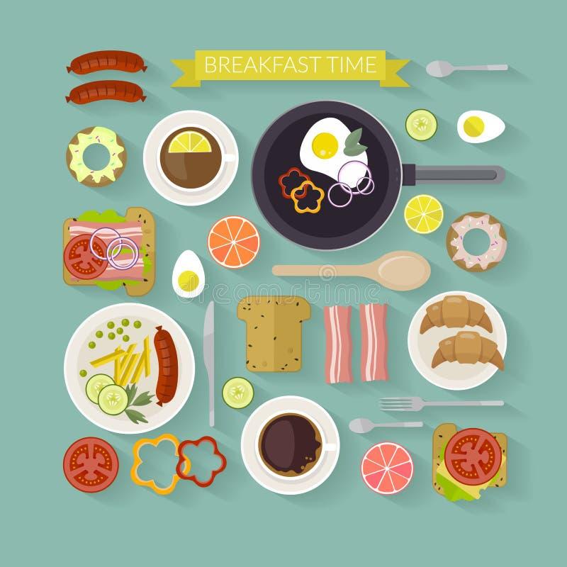 Ejemplo del tiempo de desayuno del vector con los iconos planos Comida fresca y bebidas en estilo plano libre illustration