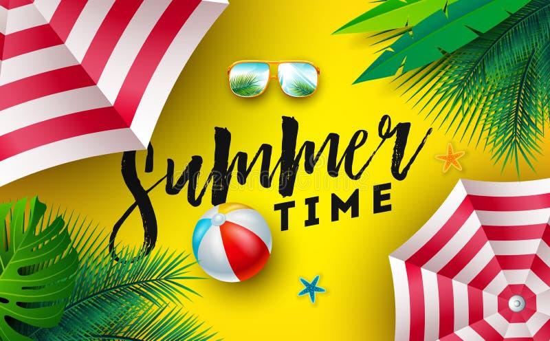 Ejemplo del tiempo de verano con la sombrilla, la pelota de playa y las gafas de sol en el fondo amarillo de Sun Día de fiesta tr stock de ilustración