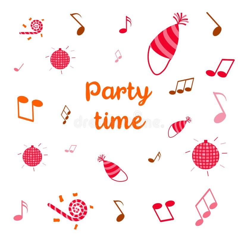 Ejemplo del tiempo del partido con la bola de discoteca, el sombrero del día de fiesta y las notas libre illustration