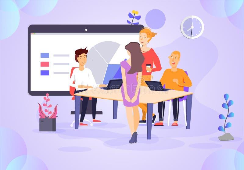 Ejemplo del trabajo en equipo del negocio stock de ilustración
