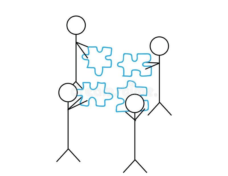 Ejemplo del trabajo del equipo figuras del palillo que llevan a cabo pedazos del rompecabezas libre illustration