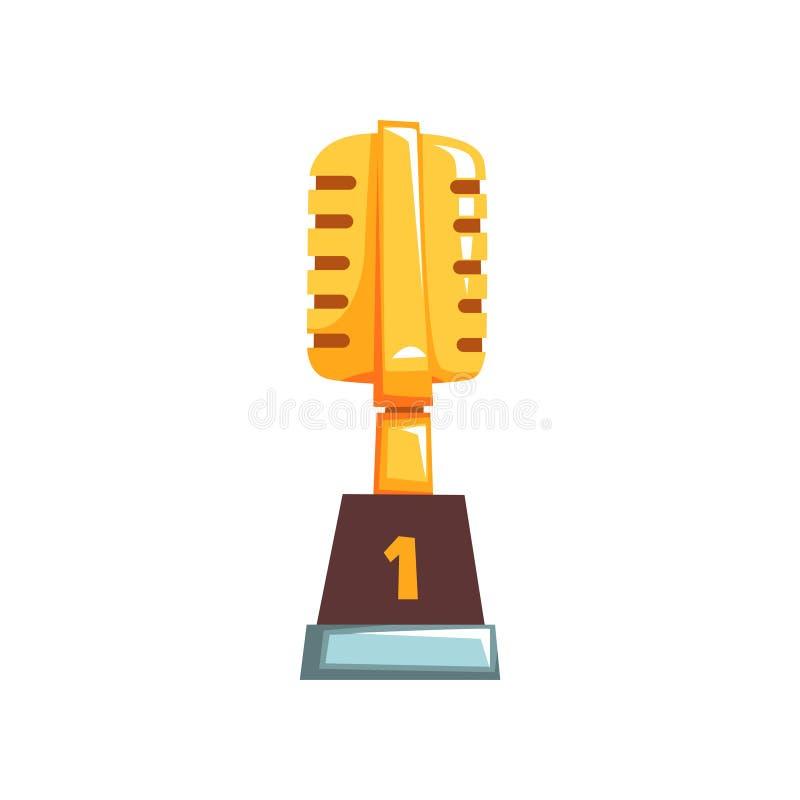 Ejemplo del trofeo de oro con el micrófono retro Premio para los logros excepcionales en industria musical El mejor cantante stock de ilustración