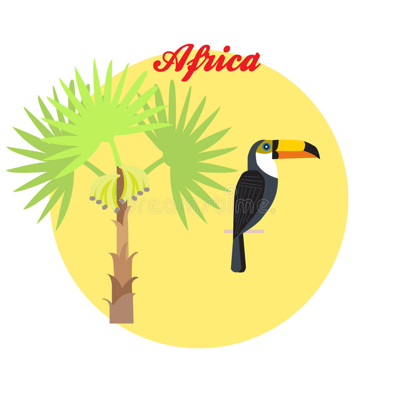 Ejemplo del tucán y de la palmera en el fondo del circl ilustración del vector