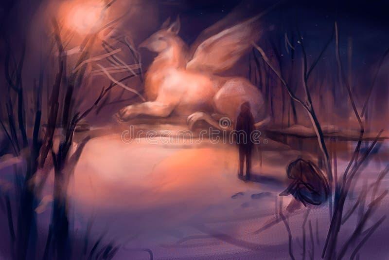 Ejemplo del unicornio en invierno stock de ilustración