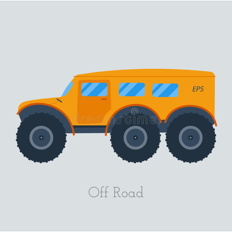 Ejemplo del vechicle del campo a través Camión aislado del atv Del vehículo de camino al aire libre stock de ilustración