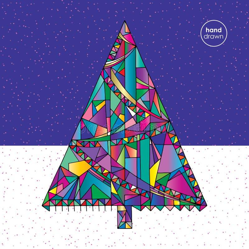 Ejemplo del vector del árbol de navidad en estilo moderno Fondo dibujado mano del Año Nuevo Tarjeta de las vacaciones de invierno ilustración del vector