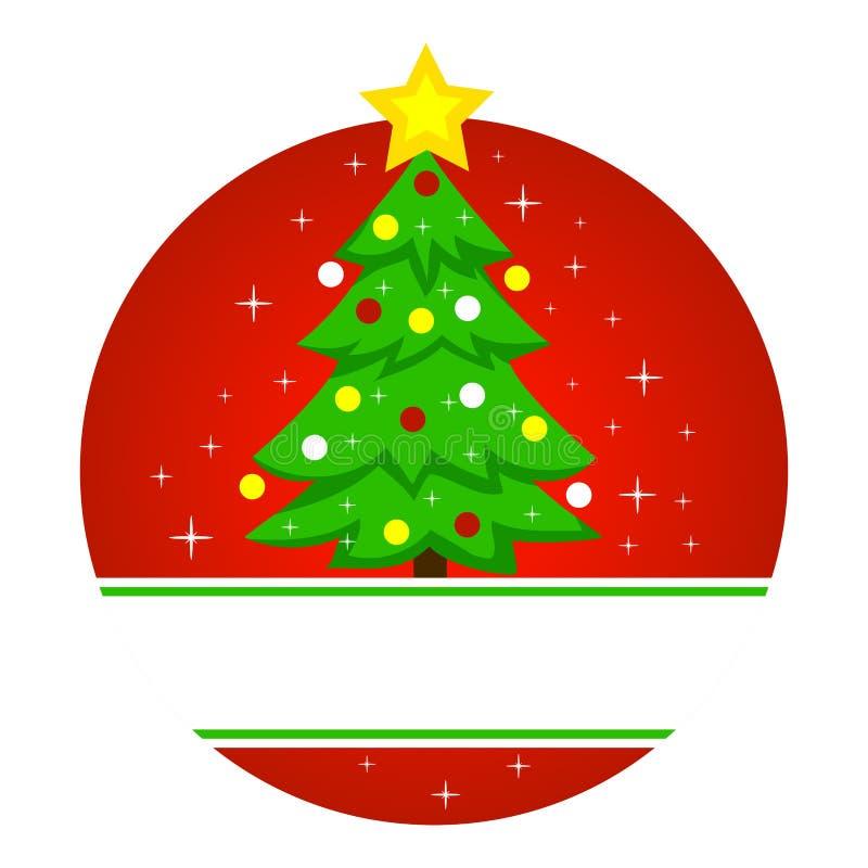 Ejemplo del vector del árbol de navidad en marco redondo stock de ilustración